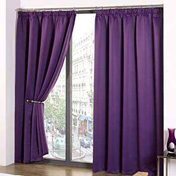 Luxury Thermal Supersoft Blackout Curtains Purple Aubergine 46quot Wide X 72quot