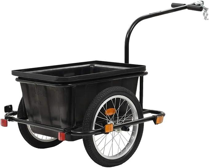 Remolque para bicicleta con caja de transporte de 50 L, carro de transporte de equipaje de bicicleta con 2 asas, diseño de acoplamiento de bola, carga negra de 150 kg: Amazon.es: Bricolaje