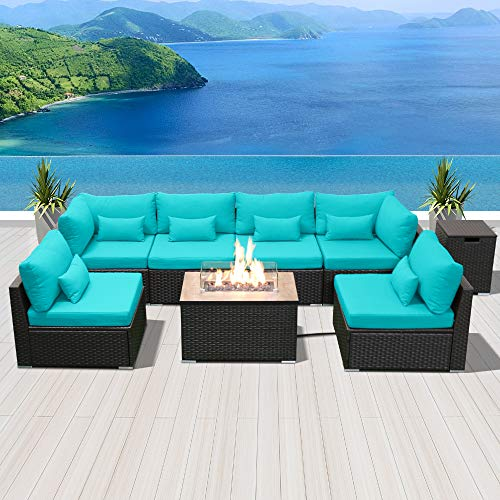 Modenzi Outdoor Sectional Patio Furniture with Propane Fire Pit Table Espresso Brown Wicker Resin Garden Conversation Sofa Set (G7 Sofa Rectangular Fire Pit, Turquoise) (Outdoor Sectional Furniture Cheap Patio)