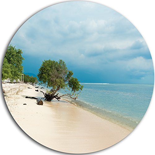 Designart MT11447-C23 Beautiful Coastline in Indonesia Modern Seascape Disc Metal Artwork - Disc of 23,Blue/White,23 X 23 by Design Art
