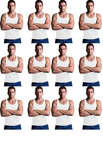 Andrew Scott Men's 12 Pack Color Tank Top a Shirt (2X-Large 50-52, 12 PK- Bright White)