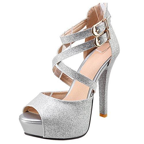 Zanpa Silver Moda Donna Heels Sandali 12CM 7xw7qagX