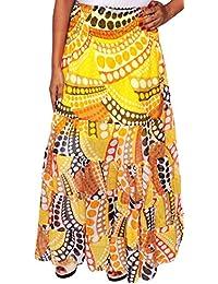 Womens Printed Indian Long Skirts Maxi Length India Summer Apparel (Yellow)