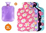 5 Pack - One 2L Hot Water Bottle with 4 Cute Fleece Covers, Classic Hot Water Bottle for Your Body, Colourful Flannel Covers Set