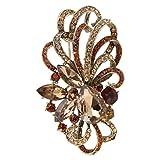 EVER FAITH Antique Gold-Tone Austrian Crystal Flower Ribbon Teardrop Brooch Pendant Brown