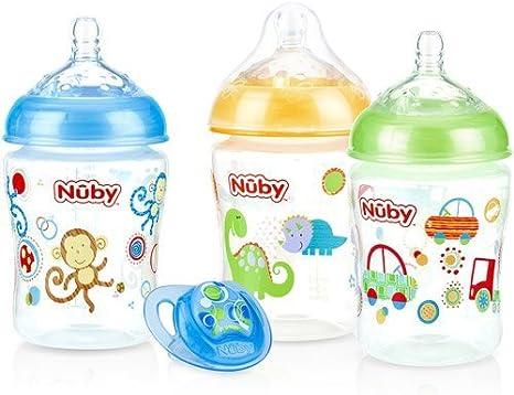 Nuby 3-Pack Natural Touch 9-oz Impreso biberones con comodidad ...