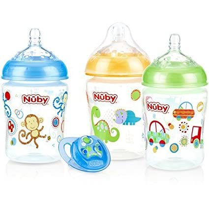 Nuby 3-Pack Natural Touch 9-oz Impreso biberones con ...