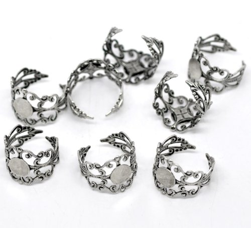0PC Antiqued Silver Adjustable Rings Base (18.3mm US Size 8) Glue On Pad (8mm) (Adjustable Ring Base)