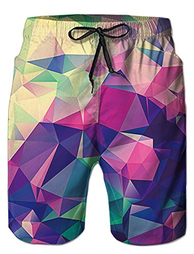 RAISEVERN Mens Prism 3D Print Summer Boardshorts Mesh Lining Trousers Quick Dry Beach Shorts Side Pockets Athletic Swim Trunks