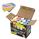 Sidewalk Chalk | Jumbo Size for Kids | Great for Outdoor Games at The Park or on The School Playground and chalkboards | 15 Sticks per Box | 4 Wash Cloths Included | Buy Now for Summer Break!