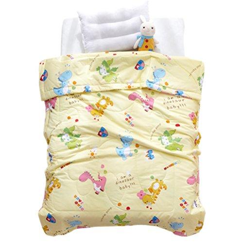"LIFEREVO Cotton Baby Toddler Blanket Spring Summer Quilt Fancy Cartoon Print Lightweight 43""x60"" Yellow Dinosaur from LIFEREVO"
