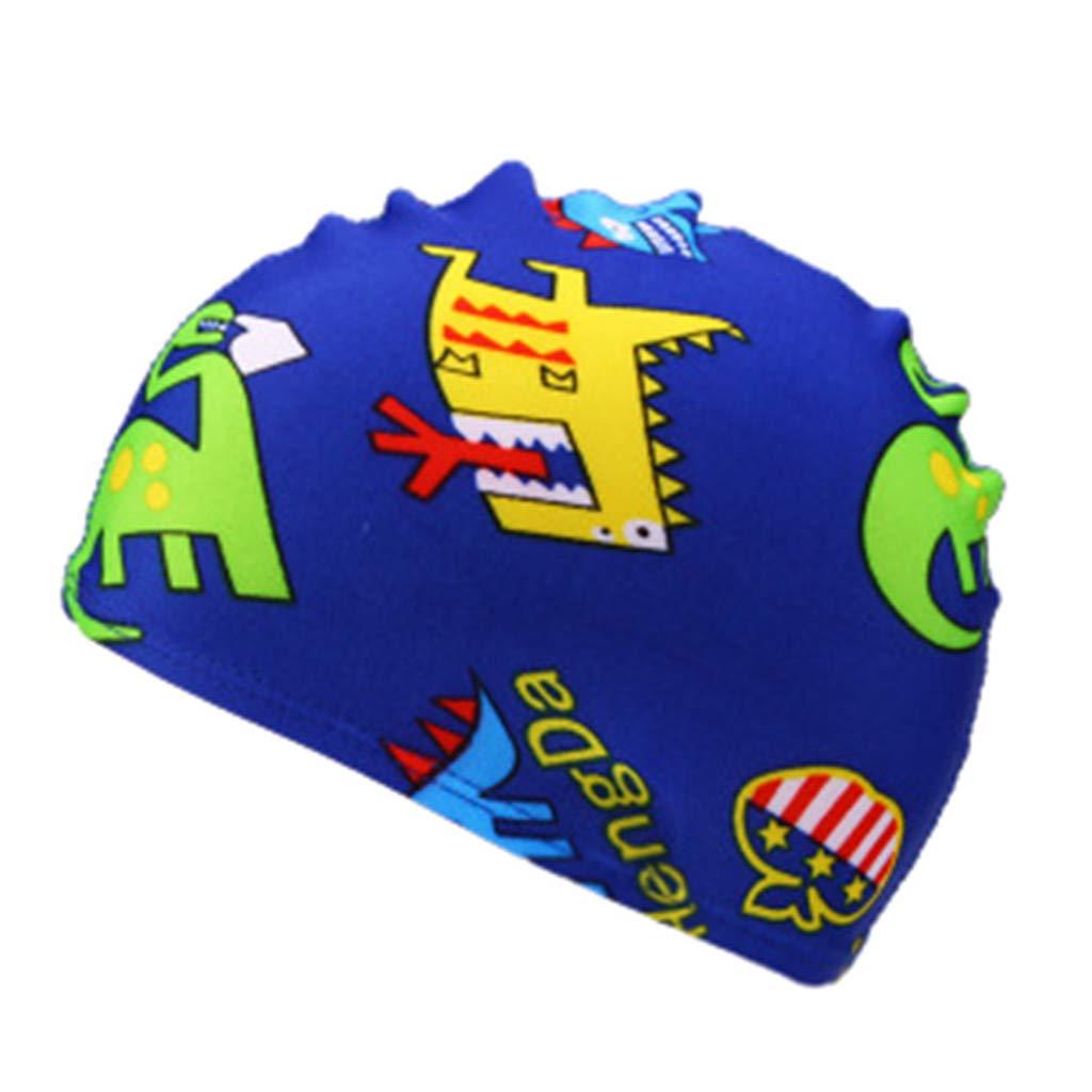 ❤️ Mealeaf ❤️ Children Kids Boy Girl Cartoon Print Swim Waterproof Swimming Cap Sports Hat(Multicolor,F)