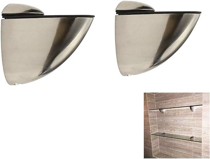 Solid Metal Adjustable Wood//Glass Shelf Bracket Holder Wall Mount 2 Pcs Chrome