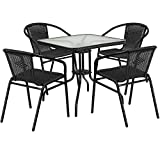 """Cheap Flash Furniture 28"""" Square Glass Metal Table with Black Rattan Edging and 4 Black Rattan Stack Chairs"""
