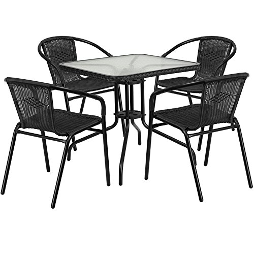 Flash Furniture 28'' Square Glass Metal Table with Black Rattan Edging and 4 Black Rattan Stack Chairs (Sale For Bistro Sets)