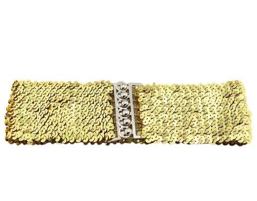 (Girl Wide Sequin Belt, BONAMART Glitter Elastic Fabric Belt Cinch F Thin Women)