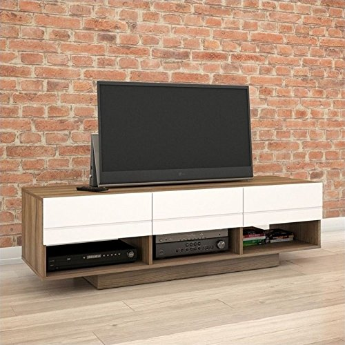 Nexera 105140 Sequence TV Stand, 60-inch, Walnut & White