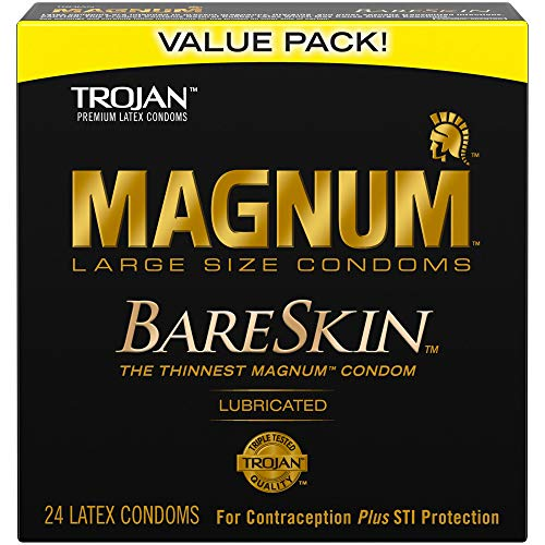 Trojan Magnum Lubricated Latex Condoms - MAGNUM BareSkin Large Condoms, 24ct