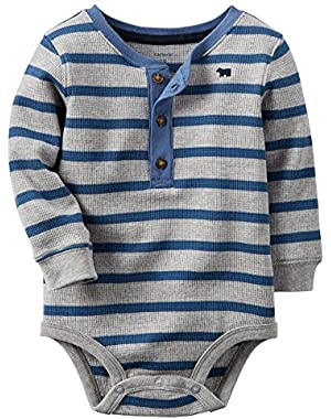 Carter's Baby Boys' L/S Henley Thermal Tee Bodysuit (6M, Blue)
