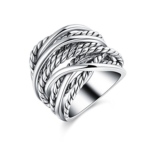 Mytys Silver Wide Statement Rings Vintage Cable Wire Crossover Band Rings for Women Men 20mm Wide