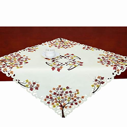 (Simhomsen Thanksgiving Holiday Tablecloth, Small Table Toppers, Embroidered Maple Tree Leaves 33 × 33 inch)