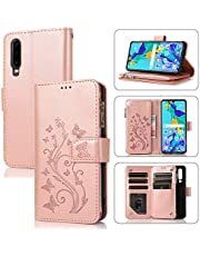 Miagon Zipper Case for Samsung Galaxy A30S,Magnetic Closure Wallet Pocket Kickstand Card Holder Folio Butterfly Flower Embossing PU Leather Flip Case Cover,Rose Gold