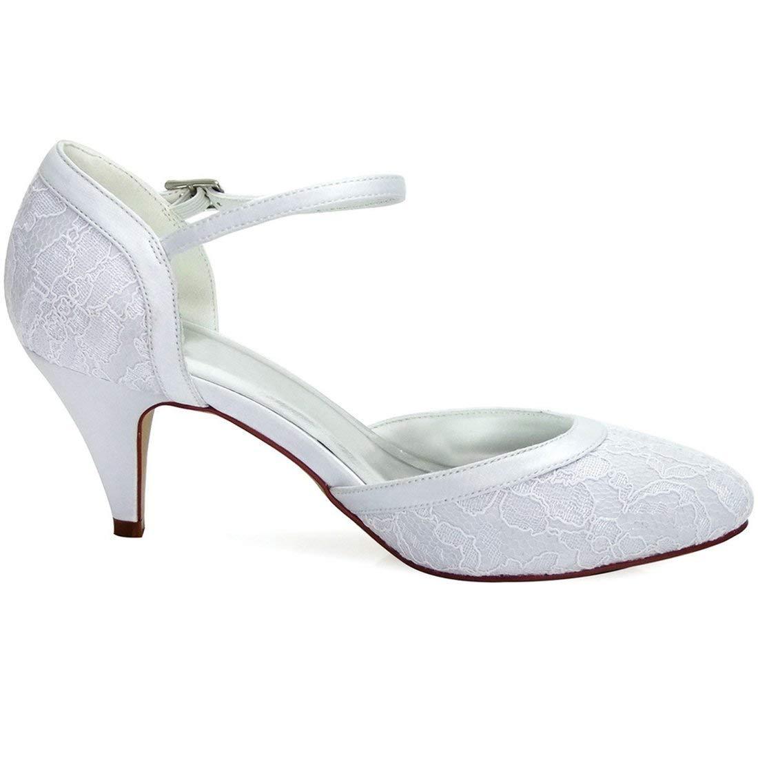 Qiusa Qiusa Qiusa Damen Mandel Zehe handgemachte Retro Weiß Lace Braut Hochzeit Abendschuhe UK 2.5 (Farbe   - Größe   -) 983a30