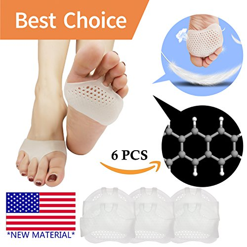 Metatarsal Pads, Ball of Foot Cushion (6 PCS) *NEW MATERIAL* Forefoot Pads, Breathable & Soft Gel, Best for Diabetic Feet, Callus, Blisters, Forefoot Pain. Can be sued for both feet (Heel Fat Pad)