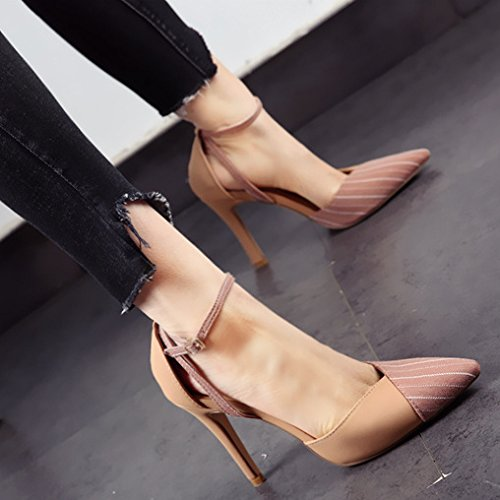 Word Pink Leisure Out Work Elegant Head Single Buckle 5Cm Fine Stripes One Lady 39 10 Shoe Spring MDRW Heels Hollow Sharp Heel Coloring tZw1WTnqp