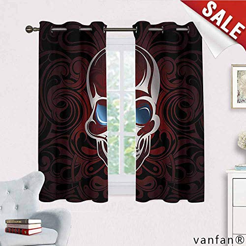 Big datastore Skull Curtain,Scary Deadly Skeleton Head with Victorian Backdrop Image Artwork Nature Decor,Burgundy Dimgrey Slate Blue W72 x L45 -