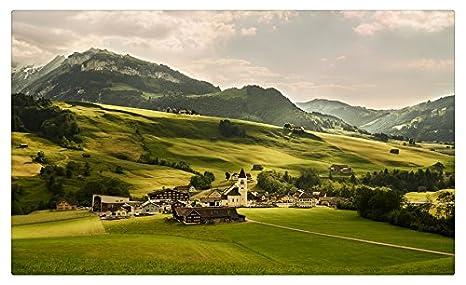 Suiza paisaje montañas casas praderas Alpes Árboles viajes ...