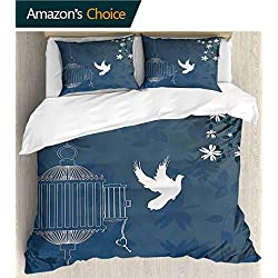 PRUNUSHOME Breathable Bedding Style Love Theme Bird Cage and Dove Flying Out with Swirls White Slate Home Collection - California King