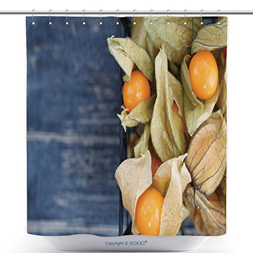 vanfan-Cool Shower Curtains Top View On The Physalis Fruit In A Black Basket_ Polyester Bathroom Shower Curtain Set With Hooks(36 x 78 inches)