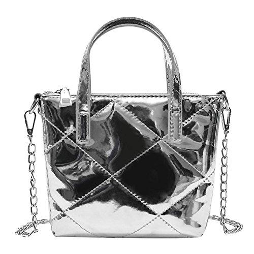 Widewing Women Pure Zipper Patent Leather Shoulder Handbags Messenger Crossbody Tote Silver