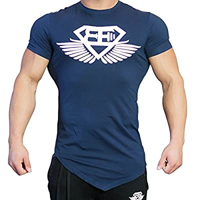 EU Men's Workout Muscle Shirts Fitness Gym Bodybuilding Short Sleeve Tees