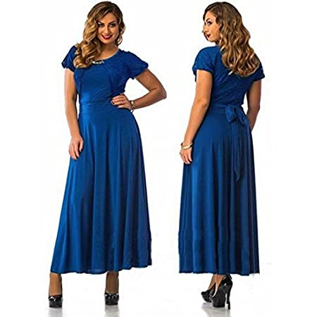 2016 Hot Sale Elegant Womens Plus Size Short Sleeve Long Maxi Lace Prom Dress