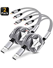 Amuvec 3 in 1 USB Cable,Retractable Multi Charger Cable Fast Charging with Type C/Micro USB/iP Port for Phone 5 6 7 Samsung Galaxy S10 S9 S8 Google Pixel 3 Huawei Xiaomi Honor PS4 and More