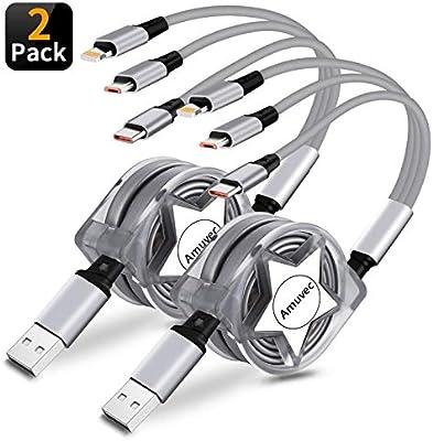 Amuvec 3 en 1 Cable Carga USB Retráctil,Multi Carga Rápida con iP ...