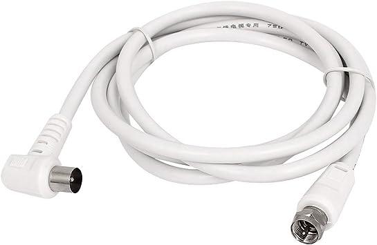 Blanco 1,5 M RF para cable F macho Conector de antena de TV ...