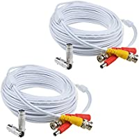 Flashmen 2-Pack 50ft HD Video Power Security Camera Cables Pre-made All-in-One Extension Wire Cord with BNC Connectors for CCTV Security Camera White