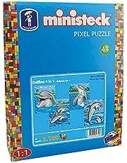 Ministeck 32772 - mozaïekafbeelding dolfijn met achtergrond 4-in-1, steekplaat, ca. 3100 stenen en accessoires, ideaal geschenk voor creatief spelen