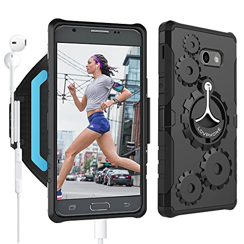 Armband Set (Samsung Galaxy J5(2017) Armband & Armour Case Set with QuickMount-LOVPHONE Sport Running Armband+Premium Protective Case with Kickstand for Galaxy J5,Soft Elastic Strap with Key Holder(Black)-L)