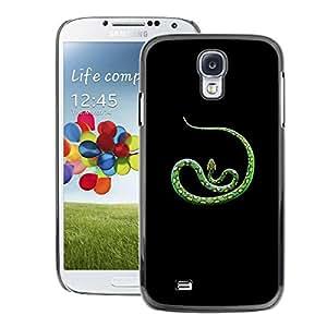 A-type Arte & diseño plástico duro Fundas Cover Cubre Hard Case Cover para Samsung Galaxy S4 (Green Nature Tropic Animal Snake Spots)