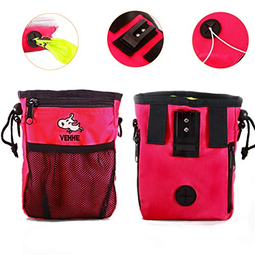 - VEHHE Pet Training Bag - Dog Treat Pouch Multi-Design Carries Pet Toys Dog Food Kibble Books Treats Poop Bag - Convenient Ways to Wear with Waist and Shoulder Reflective Straps and Belt Clip ... (Pink)