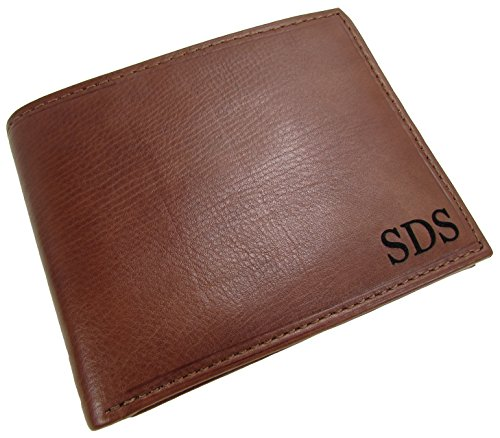 Monogram Leather (Paul & Taylor Personalized Monogram Leather Removable Passcase Bifold Wallet)