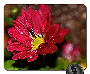 Flower Drops Mouse Pad, Mousepad (Flowers Mouse Pad, Watercolor style)