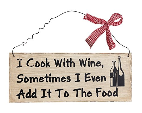 ACCENTHOME I Cook with Wine Wood Wall Art Funny Kitchen Sign Hanging Dining Room Decoration ()