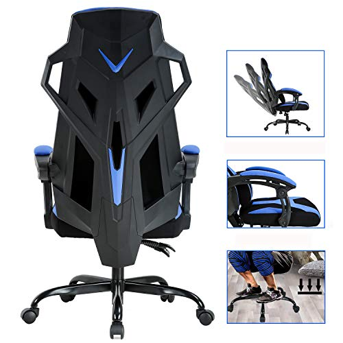 PC Gaming Chair Ergonomic Office Chair Desk Chair Executive Swivel Rolling Adjustable Computer Chair with Lumbar Support Headrest Arms High Back Racing Chair for Back Pain, Blue BestOffice