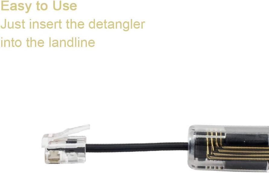 Poyiccot 2-Pack RJ9 RJ11 4P4C Wireless Anti-Tangle Telephone Handset Cable 360 Degree Rotating Landline Swivel Cord Untangler Accessory Black Telephone Cord Detangler