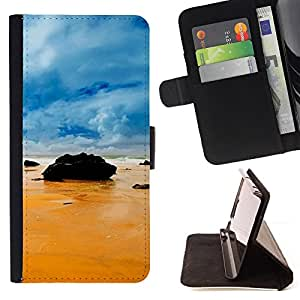 DEVIL CASE - FOR Samsung Galaxy Note 3 III - Rocks on the beach - Style PU Leather Case Wallet Flip Stand Flap Closure Cover